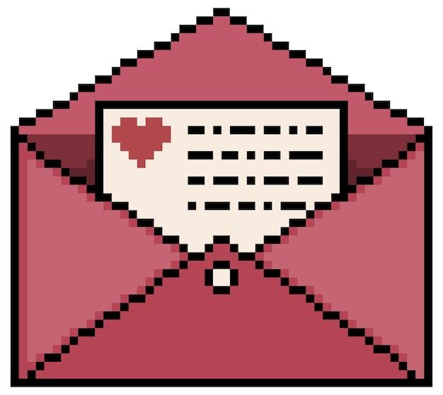 Pixel art love letter bit game item on white background