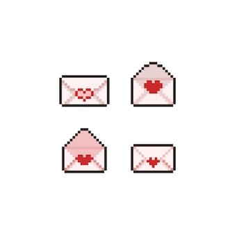 ピクセルアートの愛の手紙アイコンセット。
