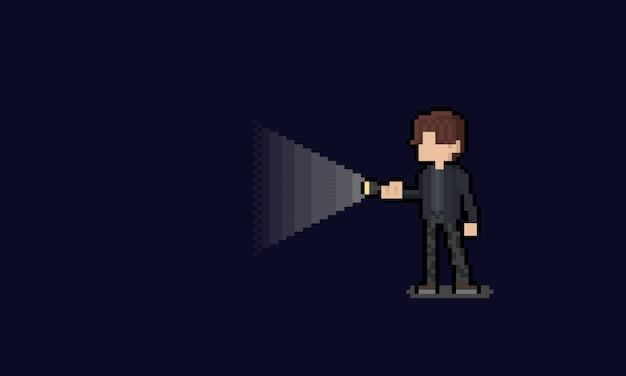 Пиксель арт человек персонаж держит фонарик.