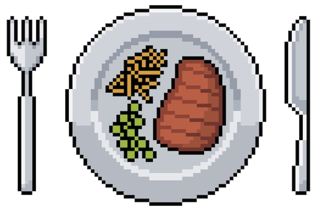 Pixel art meal with steak fries and peas plate fork and knife bit game item