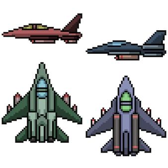Pixel art of military jet plane