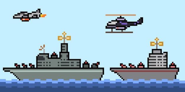 Pixel art of military navy ship