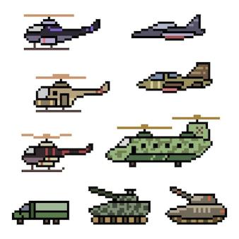 Pixel art of military vehicle force illustration