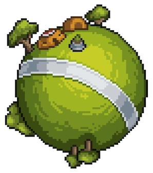 Pixel art mini planet game bit white background