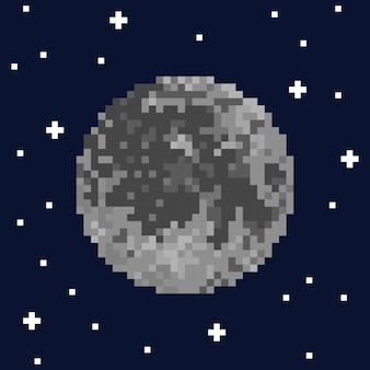 Pixel art moon and stars. vector illustration