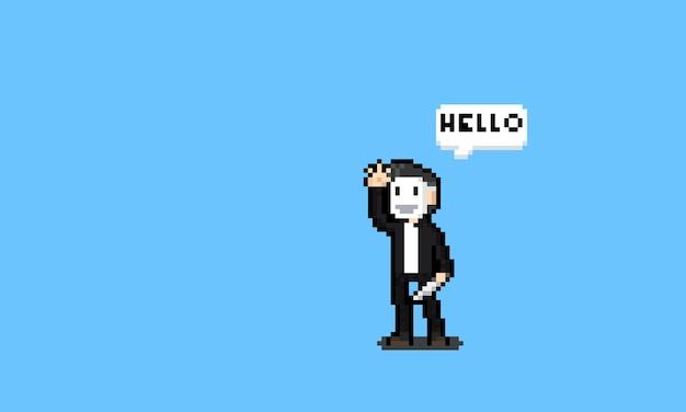 Пиксель арт убийство персонаж с белой маской.