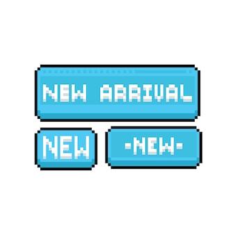 Pixel art new arrival banner set.
