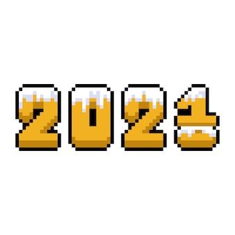 ピクセルアートの新年の数字が変わる