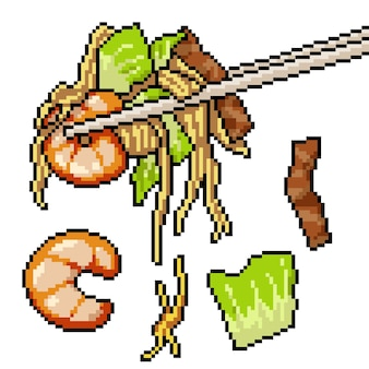 Пиксель арт азиатской лапши палочки для еды