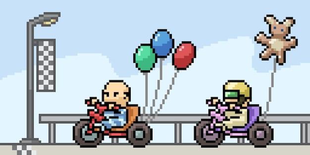 Пиксель арт иллюстрации детских гонок