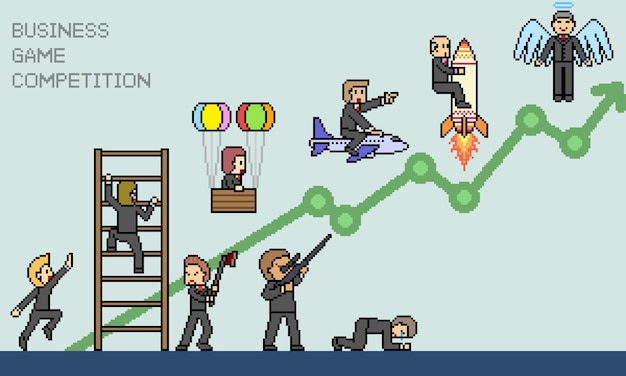 ビジネスゲームのピクセルアート