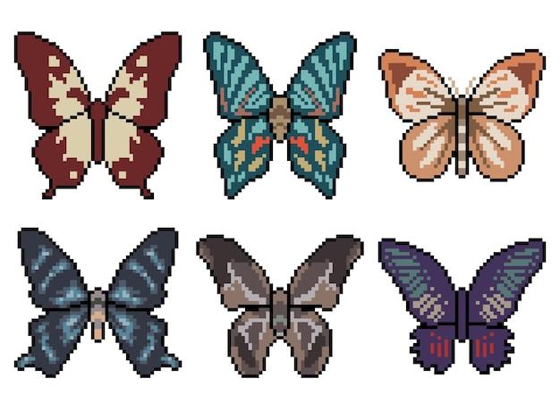 Пиксель арт бабочки, изолированные на белом фоне