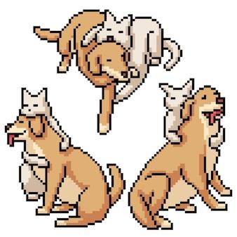 고양이 강아지 포옹의 픽셀 아트