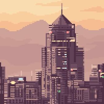 Пиксель арт городское здание на закате