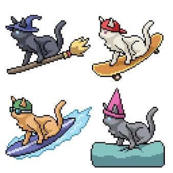 Пиксель арт причудливой кошки