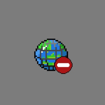ウェブと禁止記号のある地球のピクセルアート