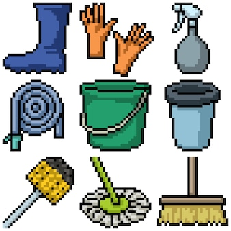 집 청소 도구의 픽셀 아트
