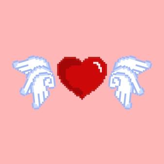 エンジェルウイングと愛のアイコンのピクセルアート