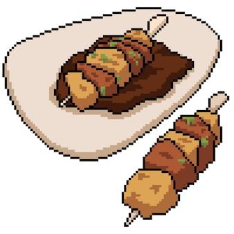 Пиксель арт фрикадельки стейк палкой