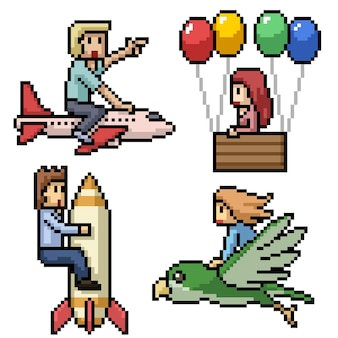 Пиксель арт людей, летающих мечтой