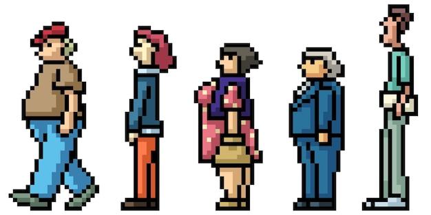 Пиксель-арт людей, ожидающих в очереди