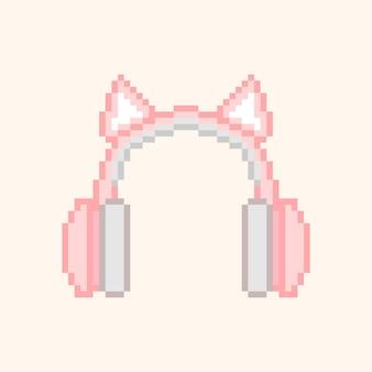 Пиксель арт наушников с розовыми кошачьими ушками