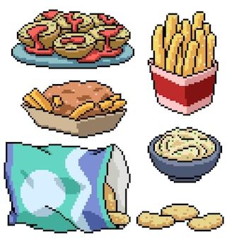 ポテトスナック食品イラストのピクセルアート