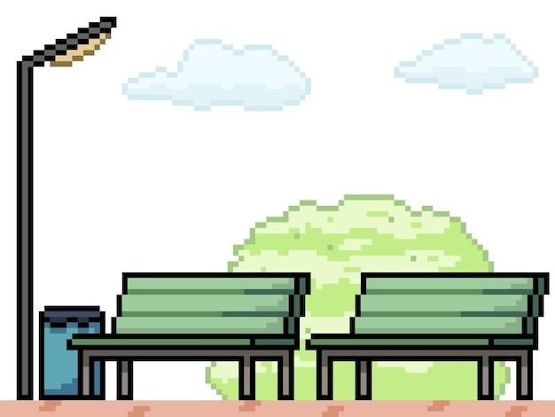 Пиксель арт скамейки в общественном парке