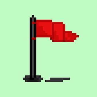 기둥이 있는 붉은 깃발의 픽셀 아트