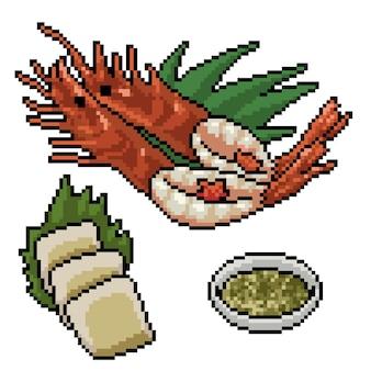 レストランのシーフードセットのピクセルアート