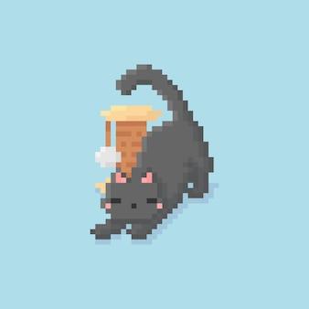 Пиксель арт растягивания котенка с игрушкой