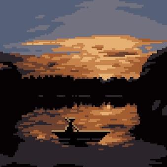 Пиксель арт лодки на озере на закате