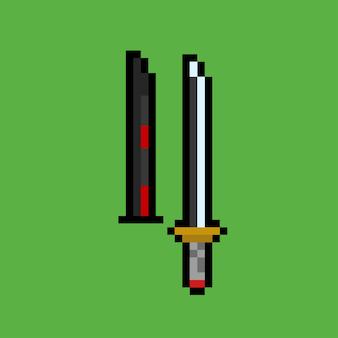 鞘付きの剣のピクセルアート
