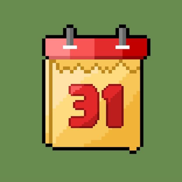 Пиксель-арт 31-го числа по календарю с рваной отметкой