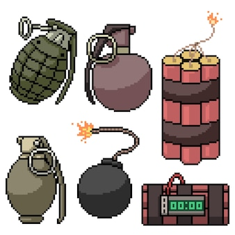다양한 폭탄 무기의 픽셀 아트