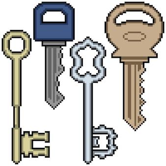 Пиксель арт различных ключей, изолированные на белом фоне