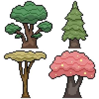 다양한 자연 나무 세트의 픽셀 아트