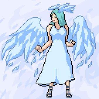 예쁜 하얀 천사의 픽셀 아트