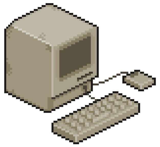 Пиксель арт старый компьютер бит игровой элемент