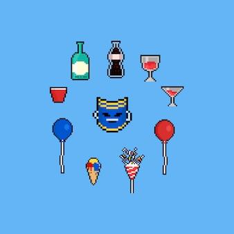 Pixel art party elements set.8bit.