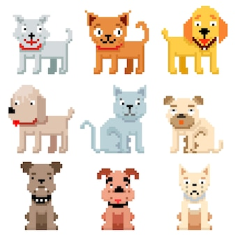 Icone di animali domestici pixel art. 8 bit cani e gatti. animali domestici gatto e cane in pixel art, animali domestici di razza di illustrazione