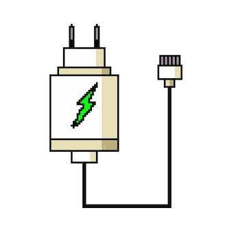 Pixel art 휴대 전화 충전기. 게임 웹 아이콘 흰색 배경에 고립입니다.