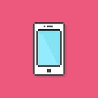 ピクセルアート電話のシンプルなアイコン。 8ビット粒子、機器、センサー、データ転送、視覚的アイデンティティの概念。ピンクの背景にフラットピクセルアートスタイルのトレンドモダンなロゴタイプグラフィック古いゲームデザイン