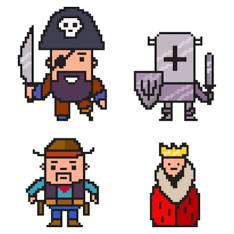 Pixel art pirate, knight, cowboy and queen.   8 bit game character set isolated on white background.