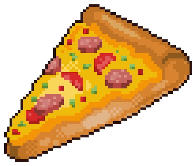 Pixel art pizza fast food bit game item on white background