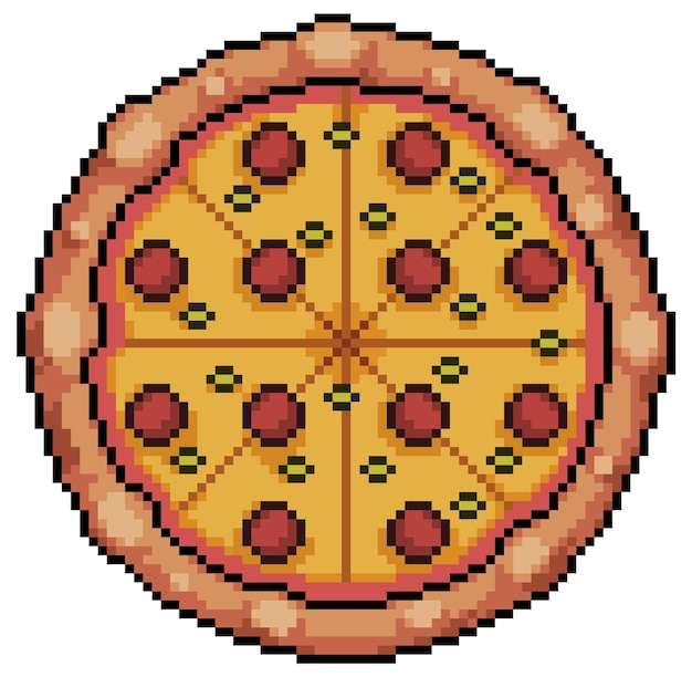 Pixel art pizza with pepperoni and cheese. bit game icon