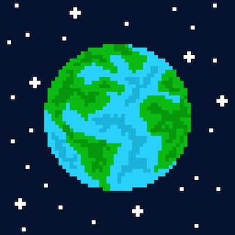 Pixel art planet earth