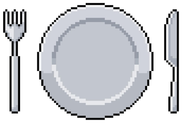 Pixel art plate fork and knife. meal, lunch and dinner. bit game item