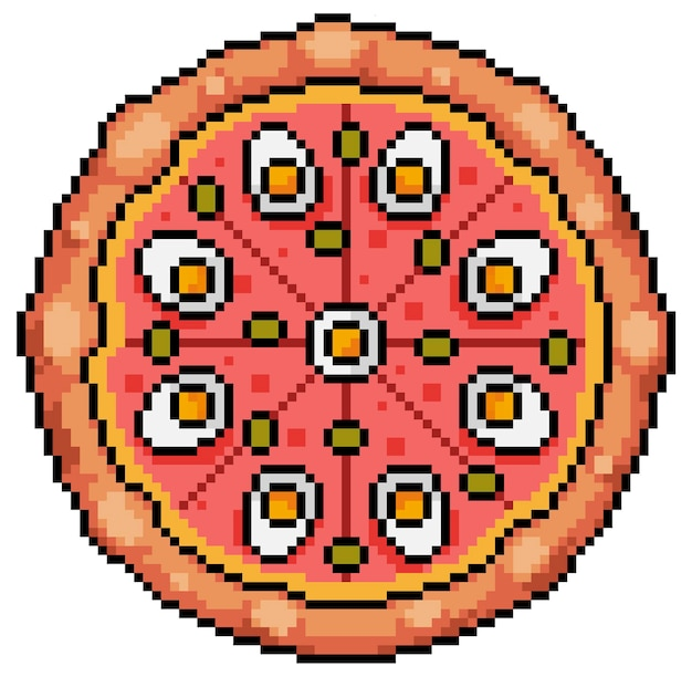 Pixel art portuguese pizza with egg isolated on white