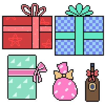 Pixel art of present gift box